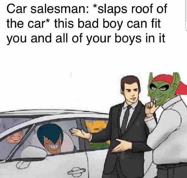 dank slaps roof of car meme