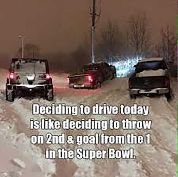 driving in snow meme