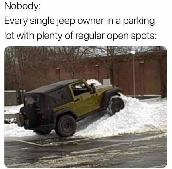 every single jeep owner in a parking... car meme