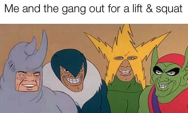 me and the gang out for a lift and squat