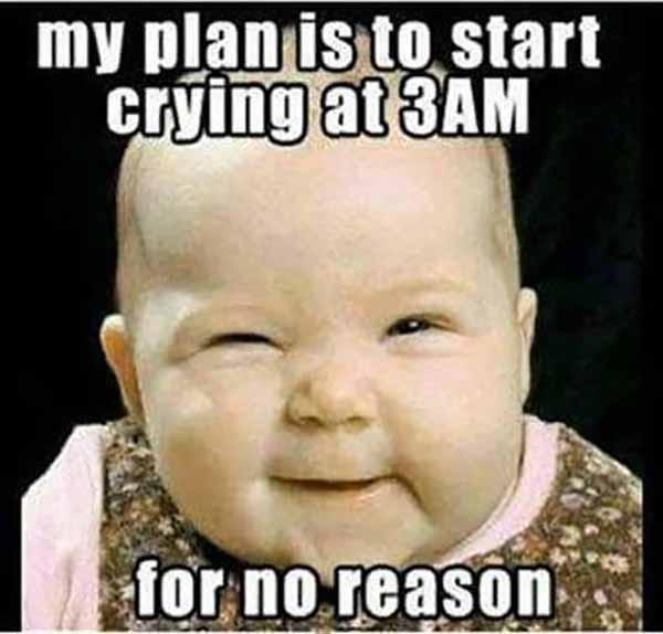 my plan is to start crying at 3am for no reason - baby crying meme