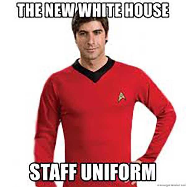 new white house staff uniform... star trek red shirt meme