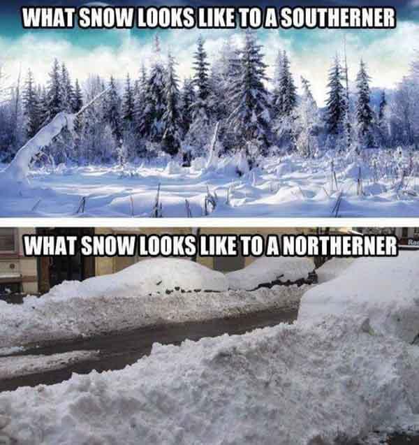 north vs south snow meme