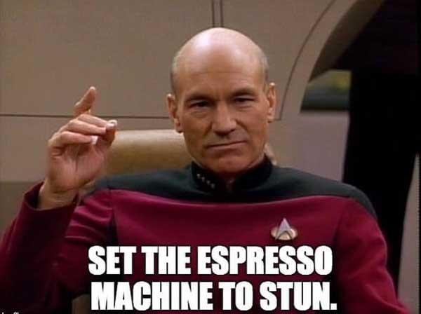 set the expresso machine to stun. star strek meme