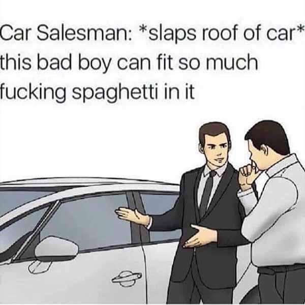 slaps roof of car meme funny