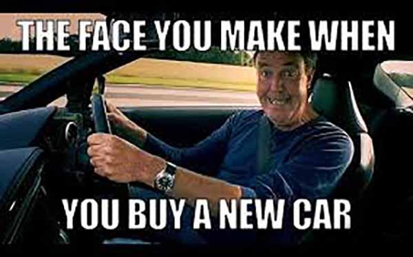 the face when you buy a new car