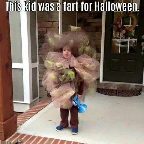 the kid was a fart for halloween... fart meme