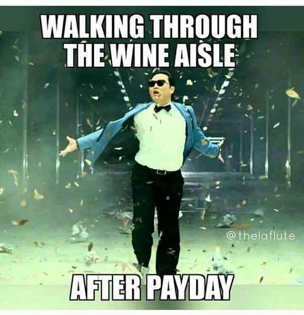 walking through the wine aisle after friday