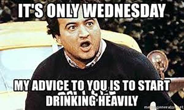 wednesday drinking meme