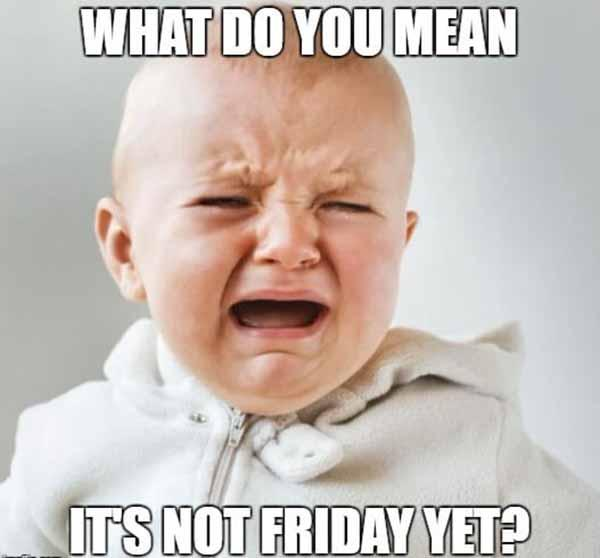 what do you mean it's not friday yet... baby crying meme