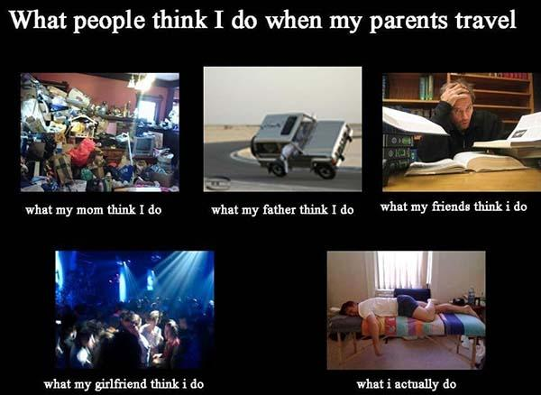 what i actually do meme when my parents travel
