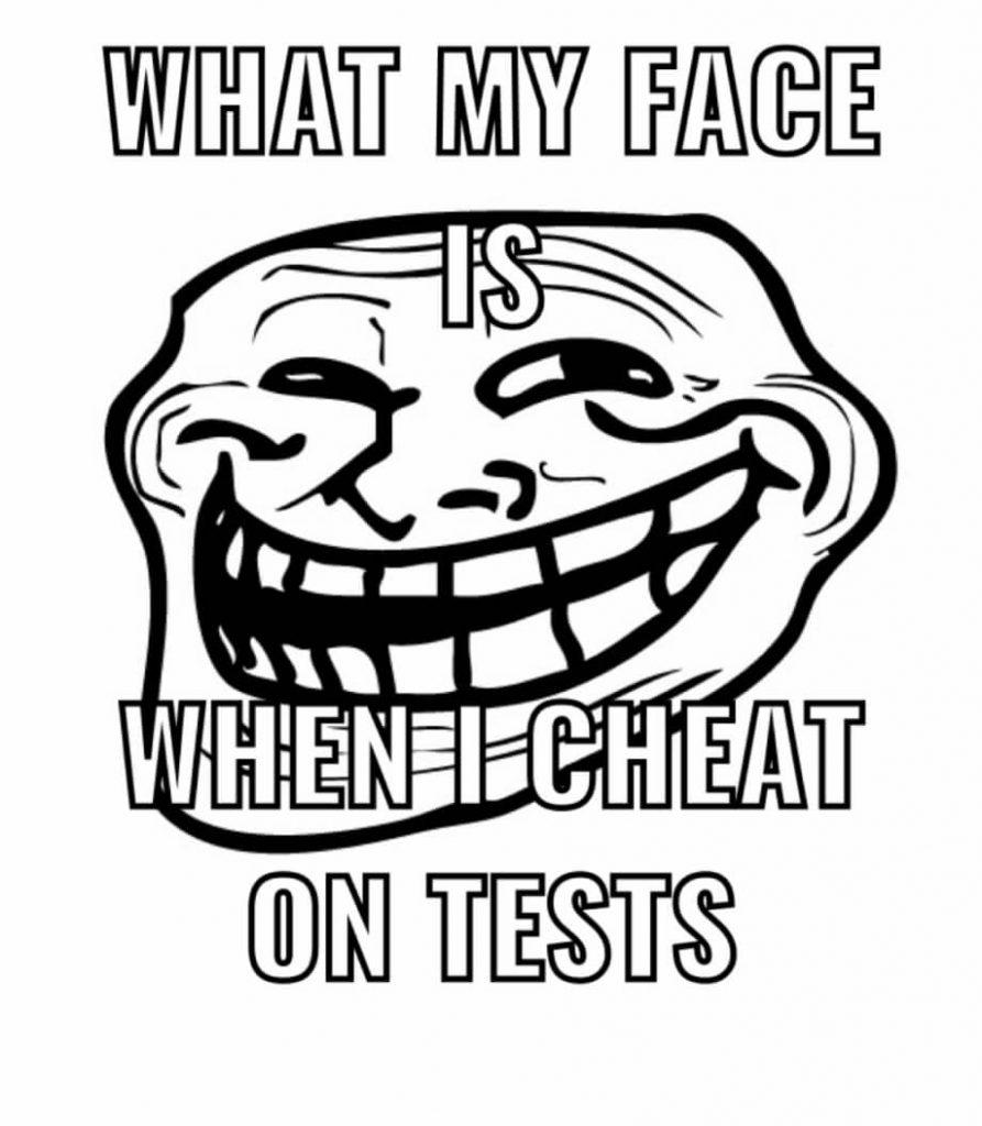 what my face is when i cheat on tests troll face meme