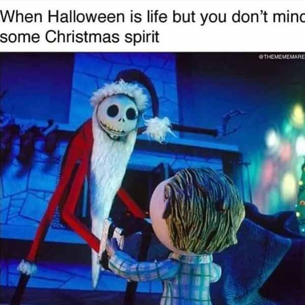 when halloween is life but you don't mind some christmas spirit