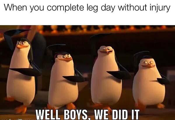 when you complete leg day without injury...