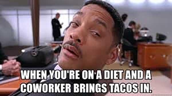 will smith confused meme when you're on a diet...