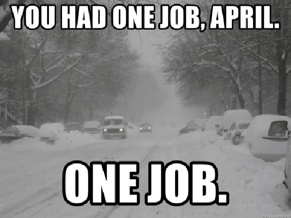 you-had-one-job-april- snow storm meme