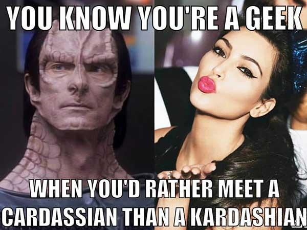 you know you're a geek... star trek meme