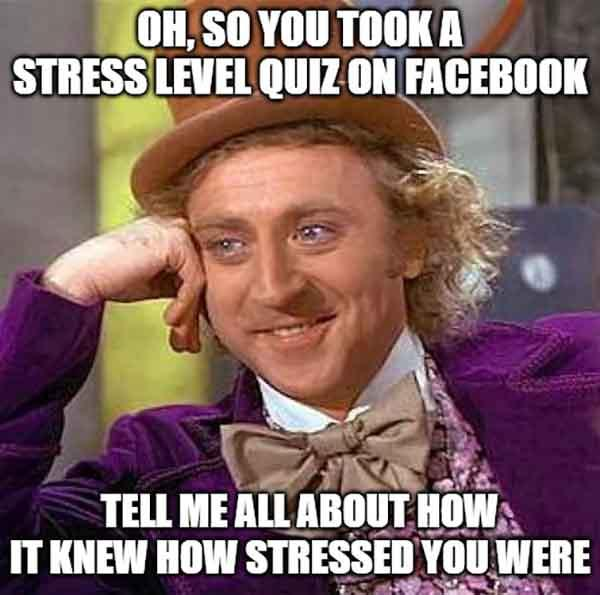 Oh, so you took a Stress Level Quiz on Facebook - stress level meme