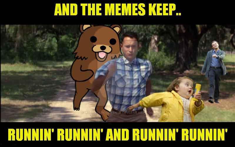 and the meme keep runnin runnin - running away meme