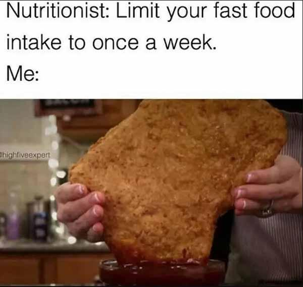 chicken nugget meme limit your fast food once a week