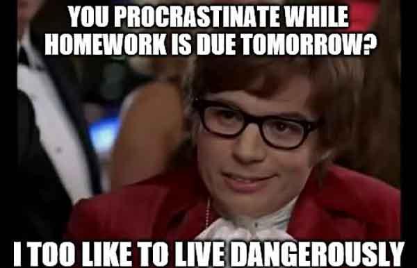 funny homework procrastination meme
