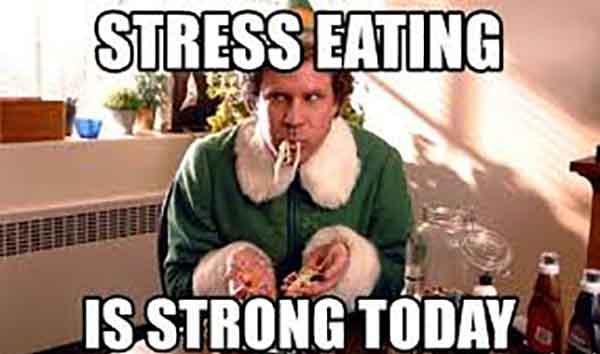 funny stress eating meme