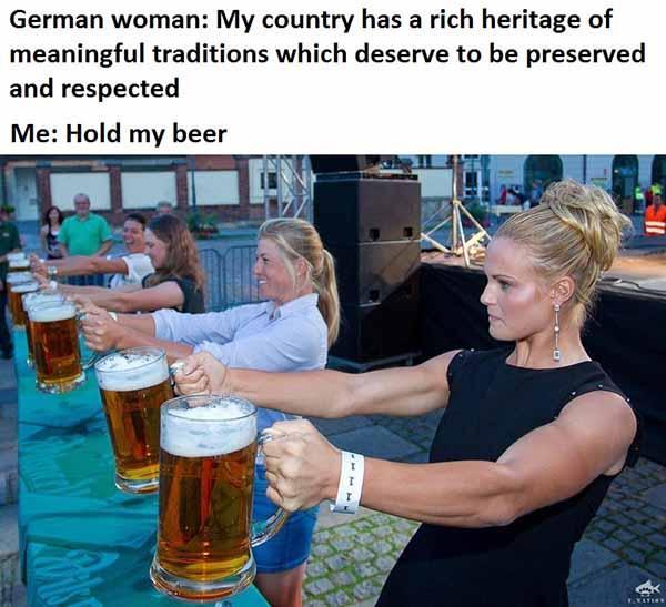 german woman hold my beer meme