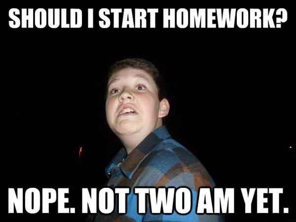 homework procrastination meme