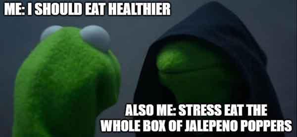 i should eat healthier - stress eating meme