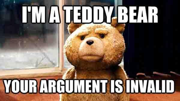 i'm a teddy bear your argument is invalid