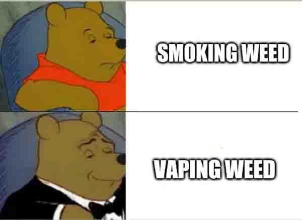 pooh bear meme smoking