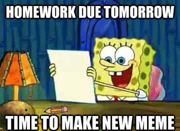 procrastination spongebob meme