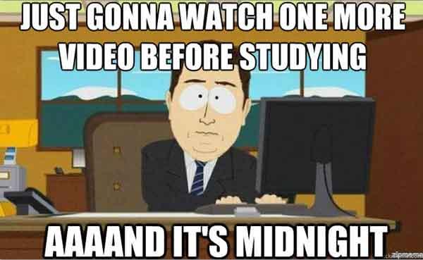 procrastination study meme