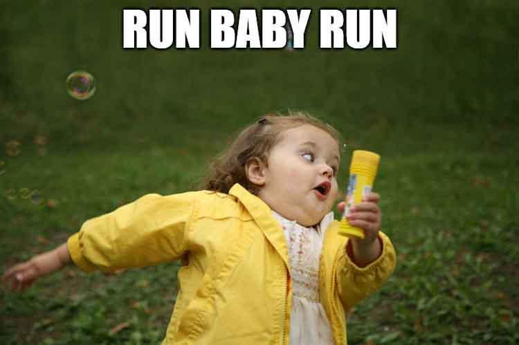 running baby meme
