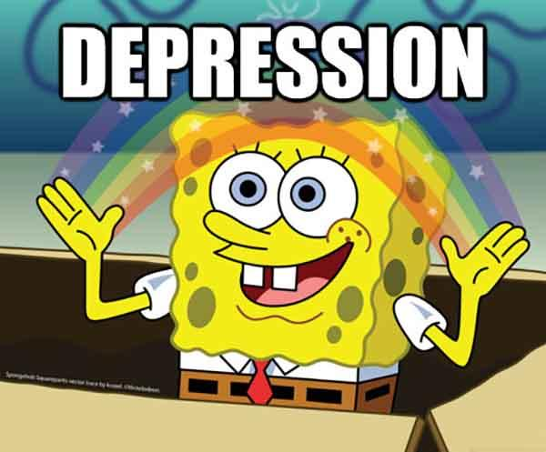 spongebob rainbow depression meme