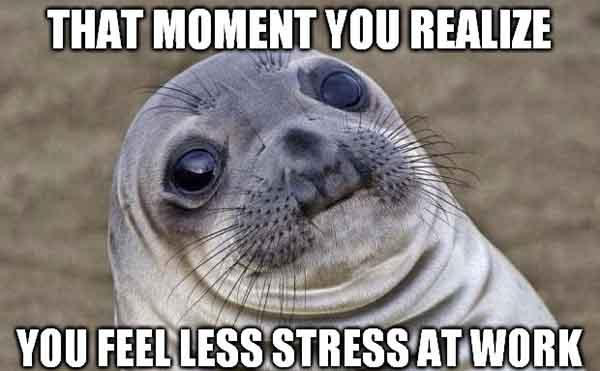 that moment you realize you feel less stress at work - work stress meme