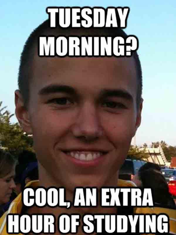 tuesday morning meme studying
